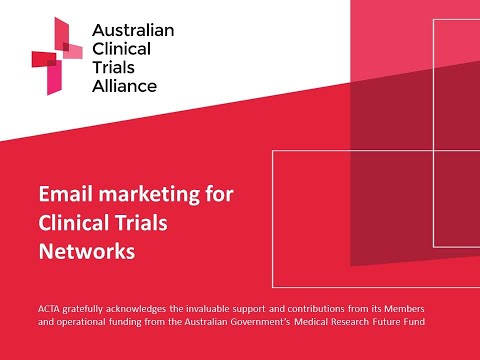 Email marketing for Clinical Trials Networks (CTNs) [Video]